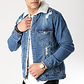 /achat-vestes-jean/classic-series-veste-jean-col-mouton-6478-bleu-denim-blanc-170368.html