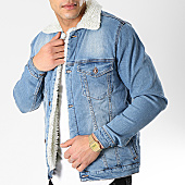 /achat-vestes-jean/classic-series-veste-jean-col-mouton-6473-bleu-denim-blanc-170370.html