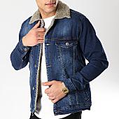 /achat-vestes-jean/classic-series-veste-jean-col-mouton-6437-bleu-denim-gris-170372.html