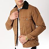 /achat-vestes-jean/classic-series-veste-jean-col-mouton-6437-camel-noir-170373.html