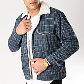 /achat-vestes/classic-series-veste-col-mouton-a-carreaux-6459-bleu-marine-ecru-170374.html