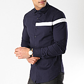 /achat-chemises-manches-longues/frilivin-chemise-manches-longues-avec-bande-bm1067-bleu-marine-blanc-170324.html