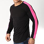 /achat-t-shirts-manches-longues/frilivin-tee-shirt-manches-longues-oversize-avec-bandes-6674-noir-rose-fluo-170331.html