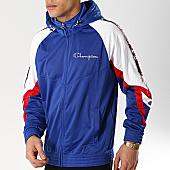 /achat-sweats-zippes-capuche/champion-sweat-zippe-capuche-avec-bandes-213048-bleu-roi-blanc-rouge-170615.html