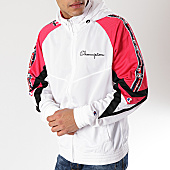 /achat-sweats-zippes-capuche/champion-sweat-zippe-capuche-avec-bandes-213048-blanc-rose-170621.html
