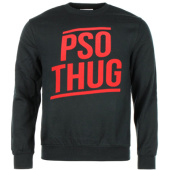 /achat-sweats-col-rond-crewneck/pso-thug-sweat-crewneck-classique-logo-noir-rouge-60412.html