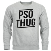 /achat-sweats-col-rond-crewneck/pso-thug-sweat-crewneck-logo-classique-gris-chine-noir-65096.html