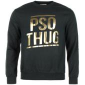 /achat-sweats-col-rond-crewneck/pso-thug-sweat-crewneck-logo-classique-noir-or-66869.html