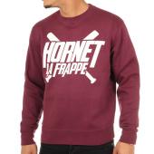 /achat-sweats-col-rond-crewneck/hornet-la-frappe-sweat-crewneck-logo-bordeaux-103287.html