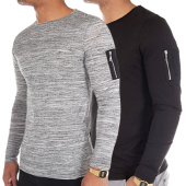 /achat-t-shirts-manches-longues/lbo-lot-de-2-tee-shirts-manches-longues-bomber-27-noir-et-gris-anthracite-chine-85168.html