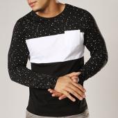 /achat-t-shirts-manches-longues/lbo-tee-shirt-manches-longues-tricolore-avec-poche-336-noir-blanc-speckle-119176.html