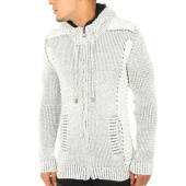 /achat-cardigans-gilets/john-h-gilet-zippe-capuche-4016-blanc-noir-119356.html