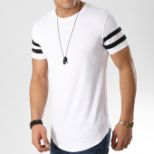 /achat-t-shirts-longs-oversize/lbo-tee-shirt-oversize-avec-bandes-noires-350-blanc-119713.html