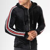 /achat-sweats-zippes-capuche/john-h-sweat-zippe-capuche-velours-avec-bandes-ab29-noir-121787.html