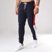/achat-pantalons-joggings/lbo-pantalon-jogging-poly-305-bleu-marine-bandes-blanc-et-rouge-122109.html