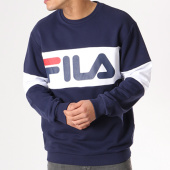 /achat-sweats-col-rond-crewneck/fila-sweat-crewneck-straight-blocked-681255-bleu-marine-blanc-124696.html