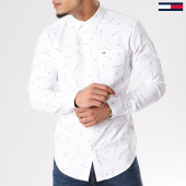 /achat-chemises-manches-longues/tommy-hilfiger-jeans-chemise-manches-longues-printed-oxford-4195-blanc-128292.html