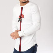 /achat-sweats-col-rond-crewneck/john-h-sweat-crewneck-oversize-velours-bandes-brodees-558-blanc-floral-128884.html