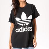 /achat-t-shirts-longs-oversize/adidas-tee-shirt-oversize-femme-big-trefoil-ce2436-noir-blanc-130168.html