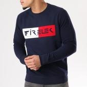 /achat-sweats-col-rond-crewneck/firelek-sweat-crewneck-logo-bicolore-bleu-marine-rouge-blanc-130098.html