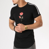 /achat-t-shirts-longs-oversize/john-h-tee-shirt-oversize-avec-bandes-1809-noir-floral-130273.html