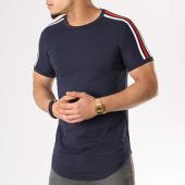 /achat-t-shirts-longs-oversize/john-h-tee-shirt-oversize-avec-bandes-1803-bleu-marine-130325.html