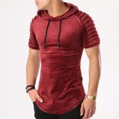 /achat-t-shirts-longs-oversize/john-h-tee-shirt-capuche-oversize-velours-510-bordeaux-131287.html