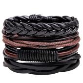 /achat-bracelets/california-jewels-lot-de-5-bracelets-weave-noir-marron-131648.html