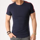 /achat-t-shirts-longs-oversize/aarhon-tee-shirt-oversize-avec-bandes-18-003-bleu-marine-133411.html