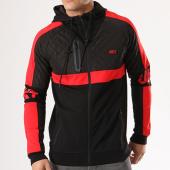 /achat-sweats-zippes-capuche/unkut-sweat-zippe-capuche-avec-bandes-call-noir-rouge-134119.html
