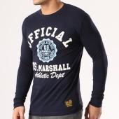 /achat-t-shirts-manches-longues/us-marshall-tee-shirt-manches-longues-jofficial-bleu-marine-blanc-bleu-clair-134158.html