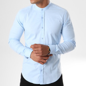 /achat-chemises-manches-longues/lbo-chemise-manches-longues-col-mao-slim-fit-405-bleu-clair-136704.html