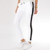 Urban Classics - Pantalon Jogging Bandes Brodées Femme TB1992 Blanc Noir 84d51a0d119