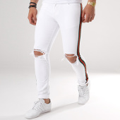 /achat-jeans/grj-denim-jean-slim-dechire-avec-bandes-12304-blanc-137938.html