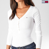 /achat-t-shirts-manches-longues/tommy-hilfiger-jeans-tee-shirt-manches-longues-femme-original-rib-henley-4436-blanc-138300.html
