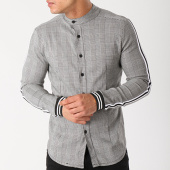 /achat-chemises-manches-longues/uniplay-chemise-manches-longues-bandes-brodees-t232-gris-noir-blanc-138593.html