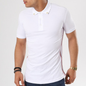 /achat-polos-manches-courtes/ikao-polo-manches-courtes-bandes-brodees-oversize-f151-blanc-138782.html