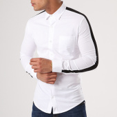 /achat-chemises-manches-longues/ikao-chemise-manches-longues-bande-brodee-f154-blanc-noir-138817.html