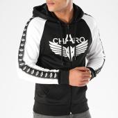 /achat-sweats-zippes-capuche/charo-sweat-zippe-capuche-avec-bandes-ambition-noir-139772.html