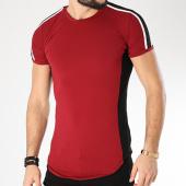 /achat-t-shirts-longs-oversize/john-h-tee-shirt-oversize-avec-bandes-1808-bordeaux-noir-140198.html