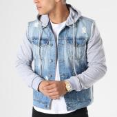 /achat-vestes-jean/classic-series-sweat-capuche-boutonne-2272-bleu-denim-gris-chine-140372.html