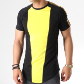 /achat-t-shirts-longs-oversize/john-h-tee-shirt-oversize-avec-bandes-611-noir-jaune-140853.html