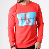 /achat-sweats-col-rond-crewneck/calvin-klein-sweat-crewneck-monogram-box-logo-7746-rouge-bleu-clair-141973.html