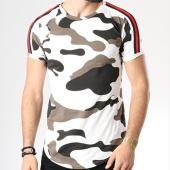 /achat-t-shirts-longs-oversize/john-h-tee-shirt-oversize-avec-bandes-1870-blanc-marron-camouflage-142215.html