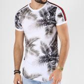 /achat-t-shirts-longs-oversize/john-h-tee-shirt-oversize-avec-bandes-18119-blanc-floral-142464.html