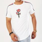 /achat-t-shirts-longs-oversize/john-h-tee-shirt-oversize-avec-bandes-1809-blanc-floral-rouge-142842.html