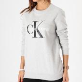 /achat-sweats-col-rond-crewneck/calvin-klein-sweat-crewneck-femme-core-monogram-logo-7877-gris-chine-143177.html