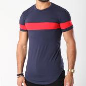/achat-t-shirts-longs-oversize/john-h-tee-shirt-oversize-avec-bande-1889-bleu-marine-143158.html