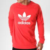 /achat-sweats-col-rond-crewneck/adidas-sweat-capuche-trefoil-dh5826-rouge-blanc-143784.html