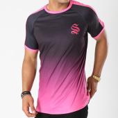 /achat-t-shirts/sinners-attire-tee-shirt-avec-bandes-dip-dye-ringer-noir-degrade-rose-144207.html